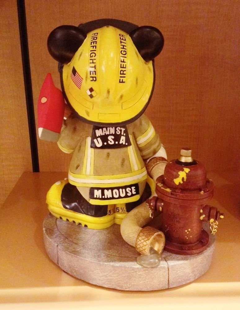 Disney Parks Fireman Mickey Mouse Medium Big Fig Figure Statue NEW!