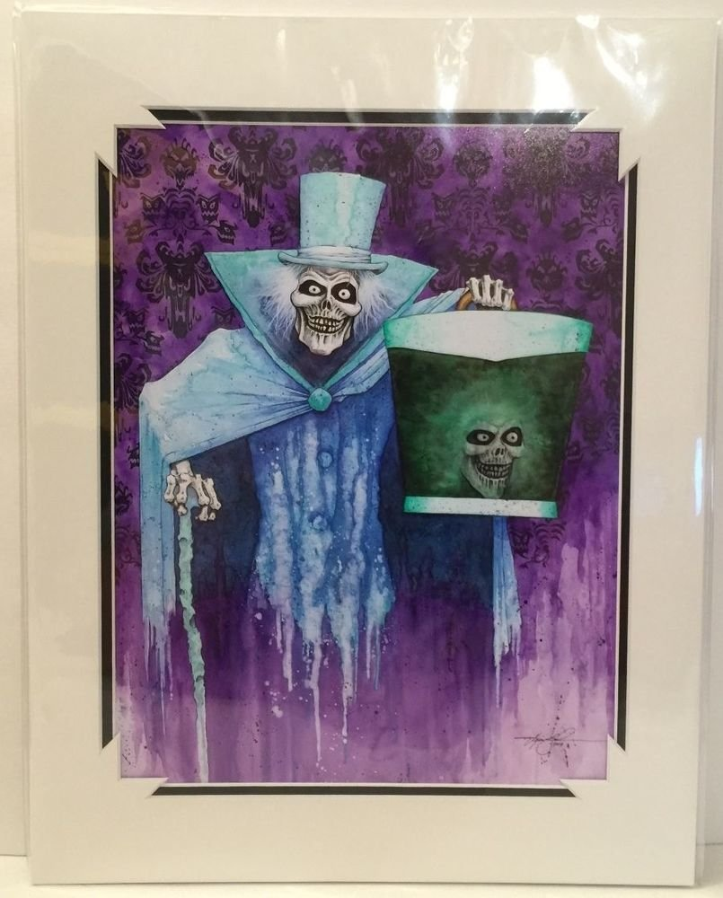 Disneyland Haunted Mansion 45th Anniversary Hatbox Ghost Print by Kevin John NEW