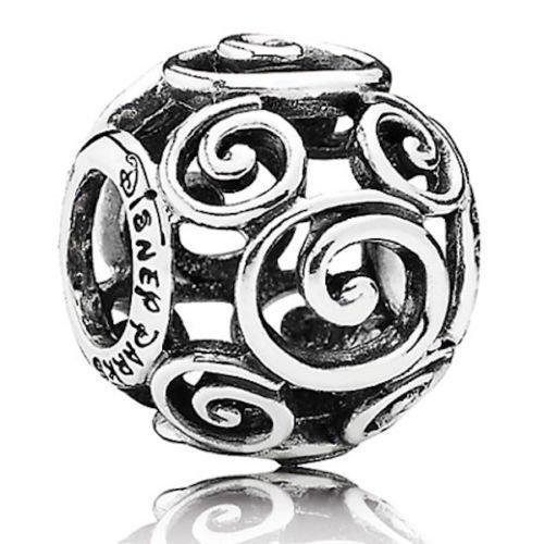 Disney Park Exclusive Pandora Mickey Swirls Silver Bead Charm New w/ Box