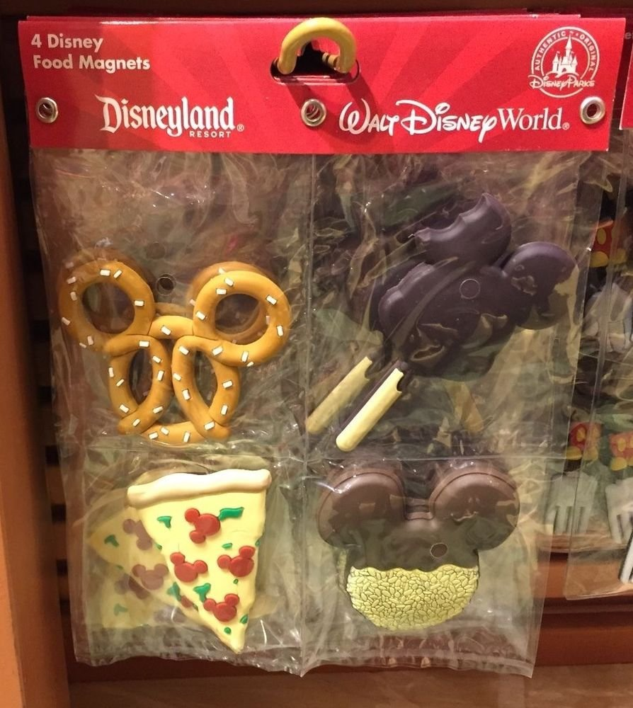 Disney Parks  4 Disney Food Magnets Pizza, Mickey Ice-Cream, Cookie, & Pretzel