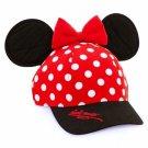 Disney Parks Minnie Mouse Polka Dot Snapback Hat Cap Bow & Ears DISNEYLAND NEW