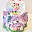 Disney Parks Resin Glass Minnie Mouse House Pink Snow Globe New