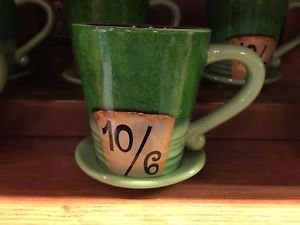 Disney Parks Alice In Wonderland Mad Hatter Green Ceramic Coffee Mug SET OF 2