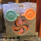 Disney Parks Tea Cups Salt & Pepper Set Saucer Ceramic Kitchen Green Orange NEW