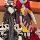 "Disney Parks Nightmare Before Christmas Jack & Sally Plush Doll Set 12"" New"