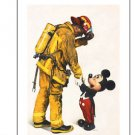 Disney Parks Mickey and Fireman Deluxe Print by Boyer NEW