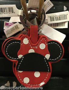 DISNEY PARKS MINNIE MOUSE EAR WITH POLKA DOT BOW KEYCHAIN NEW WITH TAGS