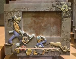 Disney Parks Resin Photo Picture Frame Mickey Goofy Donald Pluto Fab 4 NEW