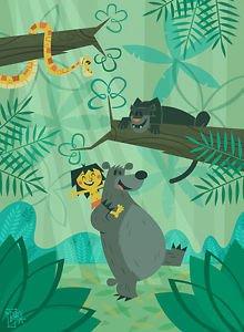 Disney WonderGround JUNGLE BOOK BEAR NECESSITIES Deluxe Print by Ben Burch NEW
