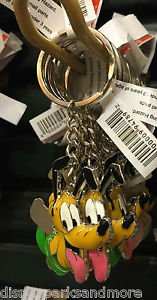 DISNEY PARKS PLUTO DANGLING METAL KEYCHAIN NEW WITH TAGS