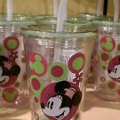 Disney Parks Minnie Mouse Clear Art Decal Tumbler with Straw New (Set of 2)
