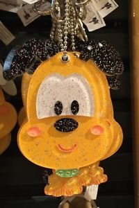 Disney Parks Sparkling Pluto with Mirror Dangling Keychain New