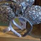 Disney Parks Minnie Mouse Ear Headband Ear Hat Silver Sequins New with Tags