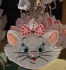 DISNEY PARKS RHINESTONE MARIE CAT SPARKLING KEYCHAIN WITH MIRROR NEW