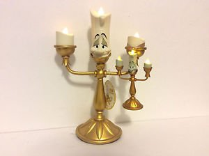 Disney Parks Beauty & Beast Lumiere Light Up Candle Figurine & Ornament Set NEW