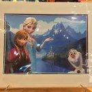 Disney Parks Frozen Elsa Anna & Olaf Deluxe Print 14x18 New