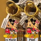 "Disney Parks Mickey Minnie Pluto Keychain ""#1 Nurse / Papi"" New With Tags"