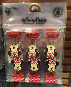Disney Parks Minnie Mouse Binder Clips Set of 6 New & Sealed