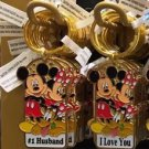 Disney Parks Mickey & Minnie Keychain #1 Husband / I Love You New With Tags