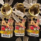 "Disney Parks Mickey Minnie Pluto Keychain ""Xoxo / You're Special / Adriana"" New"