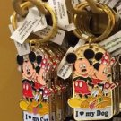 Disney Parks Mickey Minnie Pluto Keychain I Love My Cat / I Love my Dog New