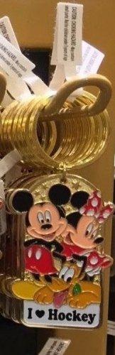 Disney Parks Mickey Minnie Pluto Keychain I Love Hockey New