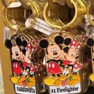 "Disney Parks Mickey Minnie Pluto Keychain ""Fashionista / #1 Firefighter"" New"