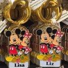 Disney Parks Mickey Minnie Pluto Keychain Lisa / Liz New
