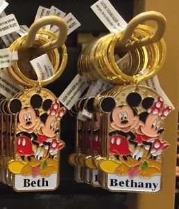 "Disney Parks Mickey Minnie Pluto Keychain ""Beth / Bethany"" New"