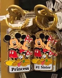 "Disney Parks Mickey Minnie Pluto Keychain ""Princess / #1 Sister"" New with Tags"
