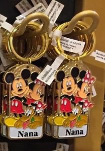 "Disney Parks Mickey Minnie Pluto Keychain ""Nana"" New With Tags"