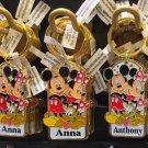 "Disney Parks Mickey Minnie Pluto Keychain ""Angela / Anna / Anthony / Ashely"" New"