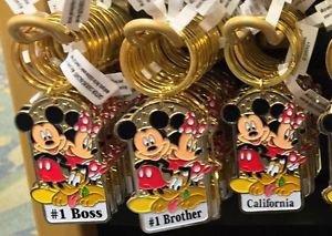 Disney Parks Mickey Minnie Pluto Keychain #1 Boss / #1 Brother / California New