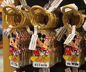 """Disney Parks Mickey Minnie Pluto Keychain """"#1 Tio / #1 Uncle / #1 Wife"""" New"""