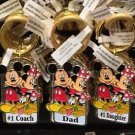 Disney Parks Mickey Minnie Pluto Keychain #1 Coach / Dad / #1 Daughter New