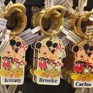 "Disney Parks Mickey Minnie Pluto Keychain ""Brittany / Brooke / Carlos"" New"