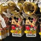 "Disney Parks Mickey Minnie Pluto Keychain ""Blank / Abuelita / Abuelito"" New"