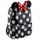 DISNEY PARKS BLACK POLKA DOT SEQUIN MINNIE MOUSE BOW BOOKBAG BACKPACK NEW