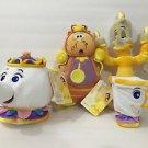 Disney Store Beauty & the Beast Plush Set Lumiere Cogsworth Mrs Potts & Chip Cup