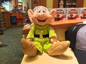 "Disney Parks Snow White Seven Dwarfs Dopey 12"" Plush New with Tags"