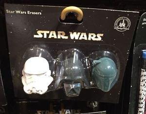 Disney Parks Star Wars Storm Trooper Darth Vader and Boba Fett Eraser Set New