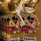 "Disney Parks Mickey Minnie Pluto Keychain ""Lauren"" New with Tags"