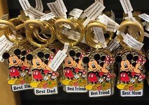 Disney Parks Mickey Minnie Pluto Keychain Best Dad / Best Friend / Best Mom New
