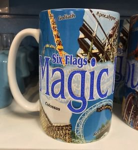 Six Flags Magic Mountain Collage 18oz. Ceramic Mug Cup New