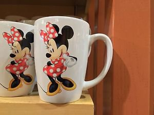 Disney Parks World Minnie Mouse Signature Collection White Ceramic Mug New