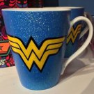 Six Flags Magic Mountain DC Wonder Woman Glitter Accent Ceramic Mug New