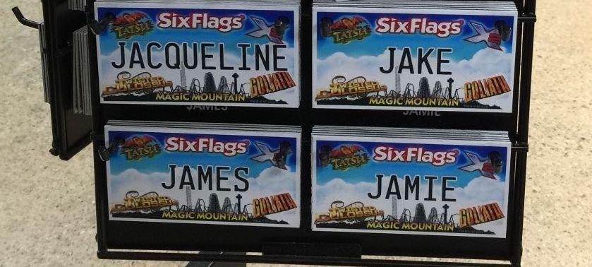 Six Flags Magic Mountain Name Magnet Jacqueline Jake James Jamie New