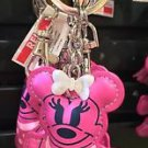 Disney Parks Minnie Mouse with White Bow Stitched Keyring Keychain New