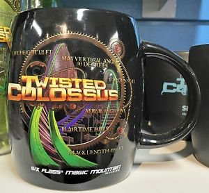 Six Flags Magic Mountain Twisted Colossus 16oz. Ceramic Black Mug Cup New