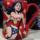 Six Flags Magic Mountain DC Wonder Woman Red Ceramic Mug New